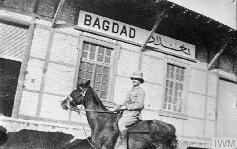 THE MESOPOTAMIAN CAMPAIGN, 1916-1918 (Q 25195) British officer on horseback at the Baghdad terminus of the Berlin - Baghdad railway. Copyright: © IWM. Original Source: http://www.iwm.org.uk/collections/item/object/205266633
